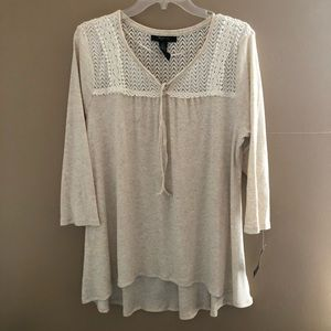 Style and Co. High Low Tan Oatmeal Shirt NWT Large
